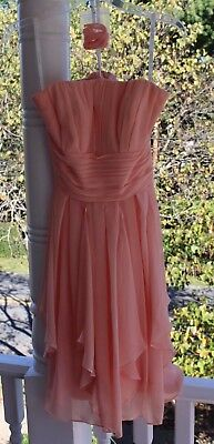 David's Bridal size 2 Bellini Bridesmaid Dress F14169 Peach Coral Prom Formal for sale  Bentonville