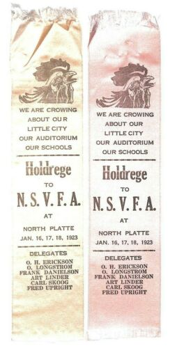 2-1923 Holdrege Nebraska Fire Department Rooster Crowing North Platte NE Ribbons