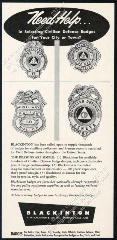 1952 Blackinton Badges 4 Civil Defense & fire badge photo vintage trade print ad