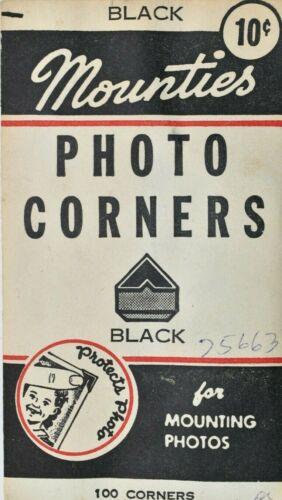 """VINTAGE OLD BLACK """"MOUNTIES"""" PHOTO CORNERS PACK 100 NOS"""