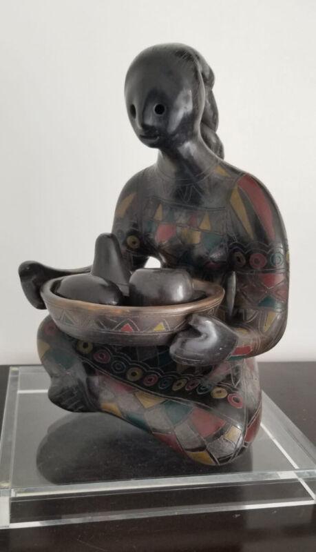 "Manuel Felguerez (b 1928 ) Black  Pottery Mexican Woman Sculpture H 14.5"""