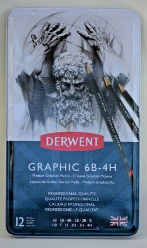 Derwent Graphic 6B-4H Medium Graphite Pencils Tin of 12  Sealed free Shipping