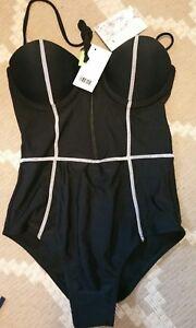 SHERIDYN SWIM AU Sz 8 Black White Shaped Molded Push Up Cups 1 Piece Swimsuit