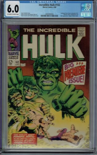 CGC 6.0 INCREDIBLE HULK #102 1ST ISSUE OF REGULAR SERIES 1968 OW/WHITE PAGES