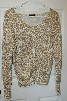 GAP animal Print  Cardigan Sweater Size Medium Gap Print Cardigan
