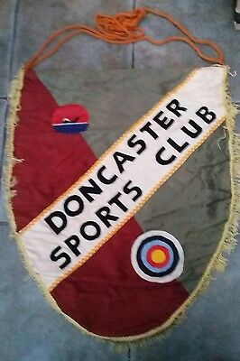 VINTAGE / ANTIQUE DONCASTER SPORTS CLUB BANNER DISPLAY SHIELD ARCHERY SWIMMING