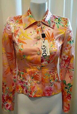 NWT Dolce&Gabbana Floral Jacket Blazer Rhinestone Buttons $2295 Sz 38 Italy
