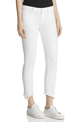 NWT Paige Denim Hoxton Ankle Peg High Rise Skinny Jeans White Angled Fray 29 32