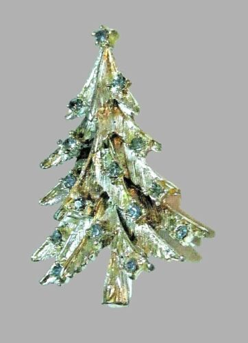 Vintage Jeweled Christmas Tree Pin - Silver & Blue Rhinestone Holiday Brooch