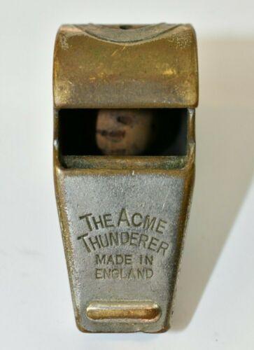 Vintage Acme Thunderer Brass Whistle nice patina England BX-5