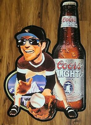 "Vintage 1996 Coors Light Advertising ~ Baseball Player ~ Metal Sign ~ 24"" x 33"""