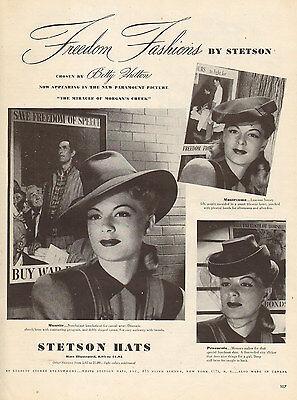 1944 WW II. era AD STETSON Hats for Women Film Noir Styles 062516