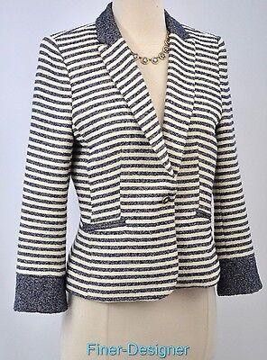 TRAFALUC ZARA White Blue Blazer Jacket suit Coat 1 button Nautical top SZ L NEW
