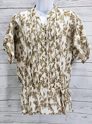 Izod Blouse Sz Small Women Brown White Floral Button Down Tie Side Ruched Top