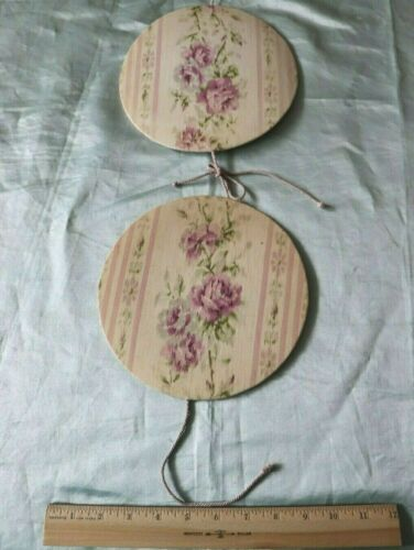 "Pretty Antique c1920 Lavender Rose Stripe Cotton Fabric 8"" Doily Press"