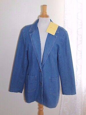 NWT DENIM & CO Sz L Denim Jean Elegant Easy Cotton Blazer Coat Jacket