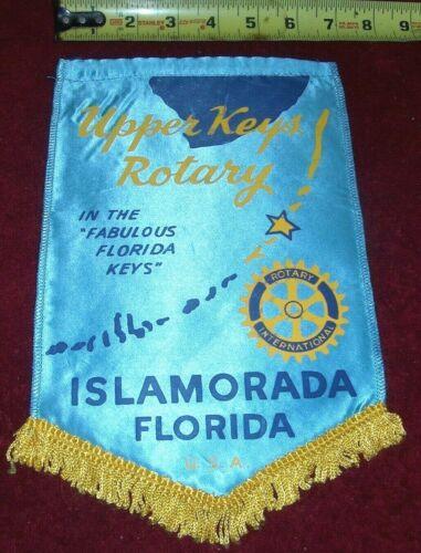 VINTAGE Rotary International Club wall banner flag    ISLAMORADA   FLORIDA