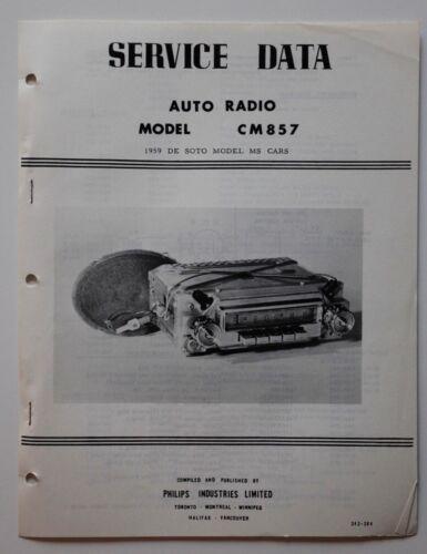 PHILIPS CANADA Car Radio brochure Model CM857 De Soto 1959 - ST501001118