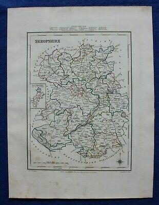 SHROPSHIRE original antique county map, LEWIS, CREIGHTON, WALKER 1848