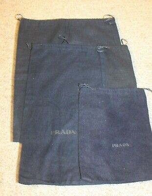 LOT/4 AUTHENTIC PRADA  PROTECTIVE DRAWSTRING DUST BAGS NAVY BLUE SOFT FLANNELS