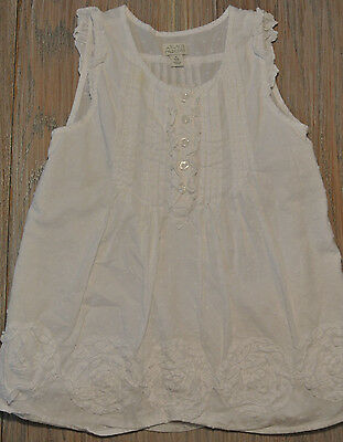 The Childrens Place Girls White Sleeveless Ruffle Flower Dress Sz S (5/6), stain
