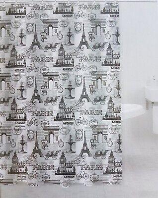 Jacquard Shower Curtain Eiffel Tower / Big Ben London Black/ White 72