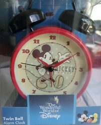 Disney Twin Bell Alarm Clock Metal Base Battery operated analog red