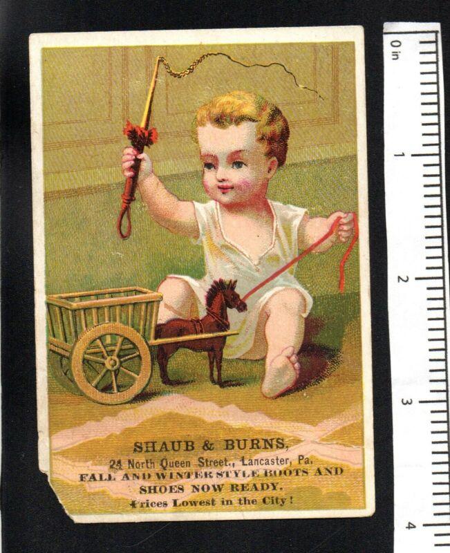 BOY WHIP TOY HORSE SHAUB & BURNS SHOES  c1880