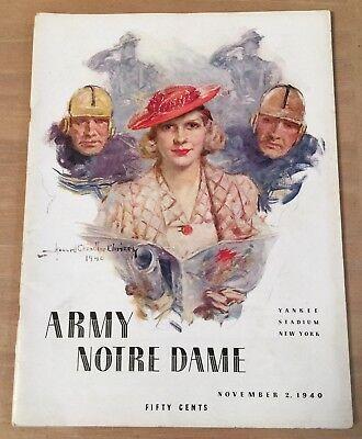 1940 Ncaa Army Black Knights   Notre Dame Fighting Irish Football Program