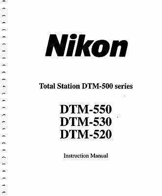 Nikon Dtm-520 Survey Total Station Manual Copy Of Dtm-500 Series Pdf