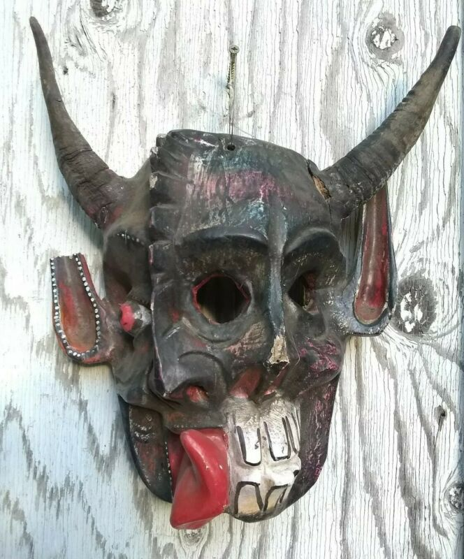 Vintage Mexican Mask Carved & Painted Wood Devil Mask Guerrero Mexico Diablo