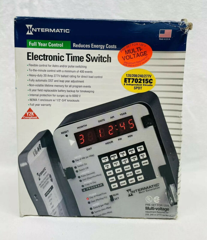 INTERMATIC ET70215C 365 DAY ELECTRONIC TIME SWITCH SPDT 120-277V 20A
