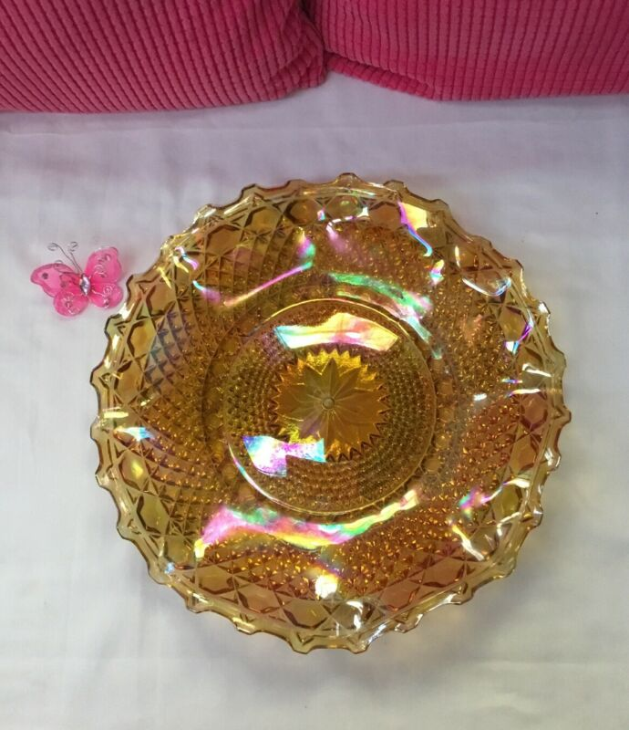Antique Vintage Marigold Starburst Fluted Carnival Glass Serving Platter A167AM