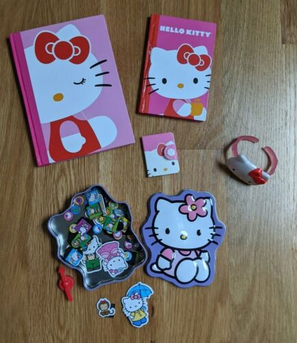 NEW Hello Kitty Pink Red Notebook Address Book Magnetic Spinner Game Case Purple