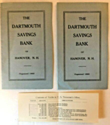 BANKING HISTORY 1919 Dartmouth Savings Bank of Hanover, N H + Contents of Vaults