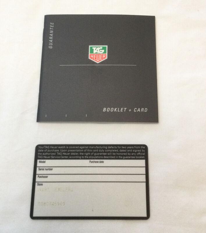 Tag Heuer Watch Guarantee Booklet & Open Stamped Blank Warranty Card