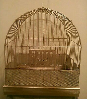 Vintage Art Deco Hendryx Dome Top Metal Wire Hanging Bird Cage no Stand