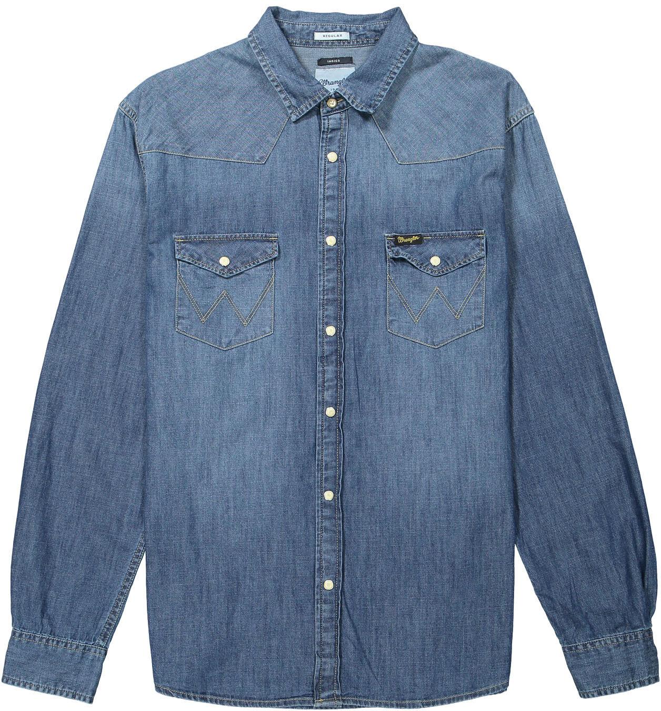 a7605bf309 Mens Wrangler Western Denim Style Shirt - W5973o78e Mid Stone Wash L ...