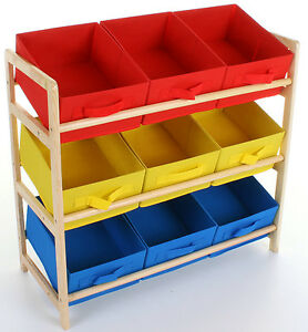 Kids Childrens 3 Tier Storage Shelf Unit Kids Bedroom Nursery 9 Boxes Drawers