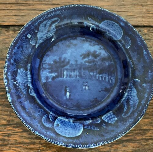 """Historical Staffordshire plate - """"Mount Vernon"""" by Wood - Shell Border"""