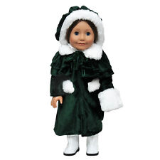 """18 """" Inch DOLL CLOTHES Fits AMERICAN GIRL 1914 Style Winter Coat Hat Cape Muff"""