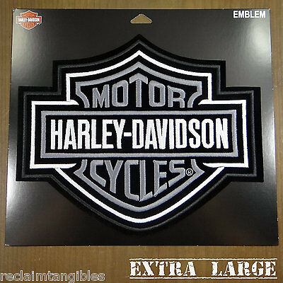 Harley Davidson Authentic Patch - Silver Classic Logo - Extra Large Emblem Badge