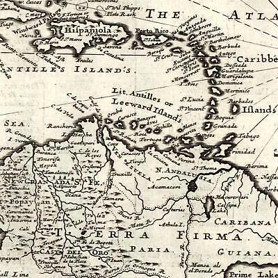 Caribbean islands Hispaniola Terra Firma 1709 Moll old map Cuba el Dorado Guyana
