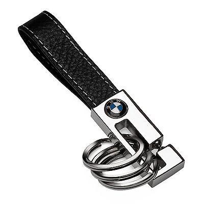 BMW Genuine OEM 3 Ring Leather Key Fob - Black 80-23-2-209-854