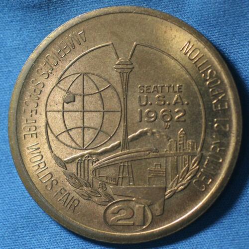 1962 Seattle WA Space Age Worlds Fair Century 21 Expo One Dollar Token Medallion