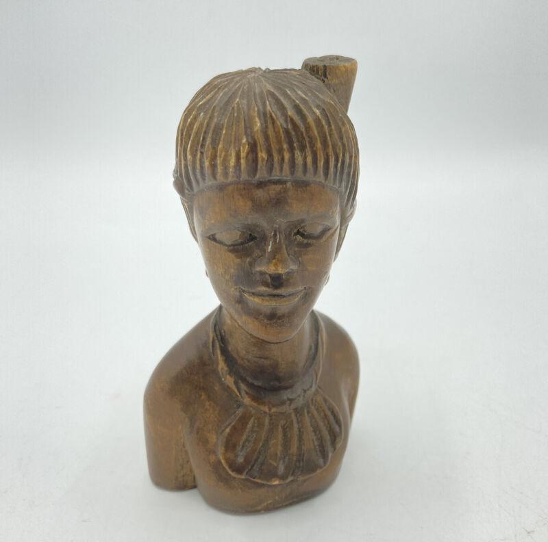Carved Wood Polynesian Pacific Islander Miniature  Bust