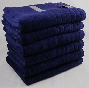 Hotel Quality Bath Towels Navy Blue 650 gsm 100% Cotton Pack Set of 3
