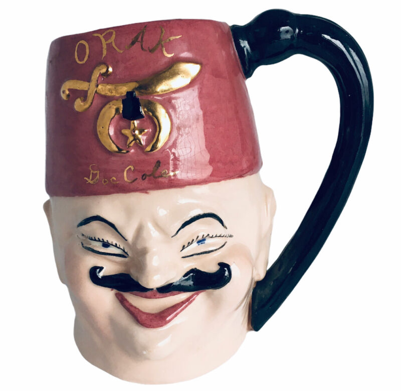 "VINTAGE Shriners Masonic ORAK Ceramic Mug Stein Limited 12/48 Artist Signed 6"""