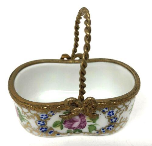 Limoges France Trinket Basket Peint Main Miniature Floral