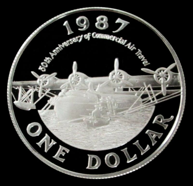 1987 SILVER BERMUDA $1 DOLLAR 50TH ANNIVERSARY COMMERCIAL AVIATION PROOF COIN
